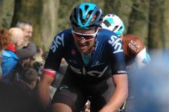 Ian Stannard at the top of the Kemmelberg from the Belvedere side