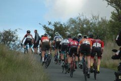 Steven Parsonage at the back of the peloton