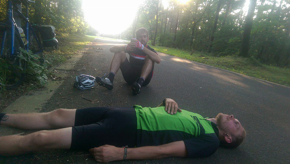 Lying around waiting for the Garmin to charge