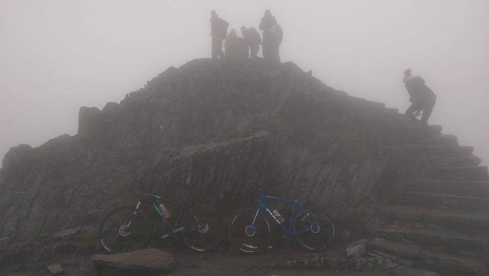 Our bikes at the Snowdon Summit