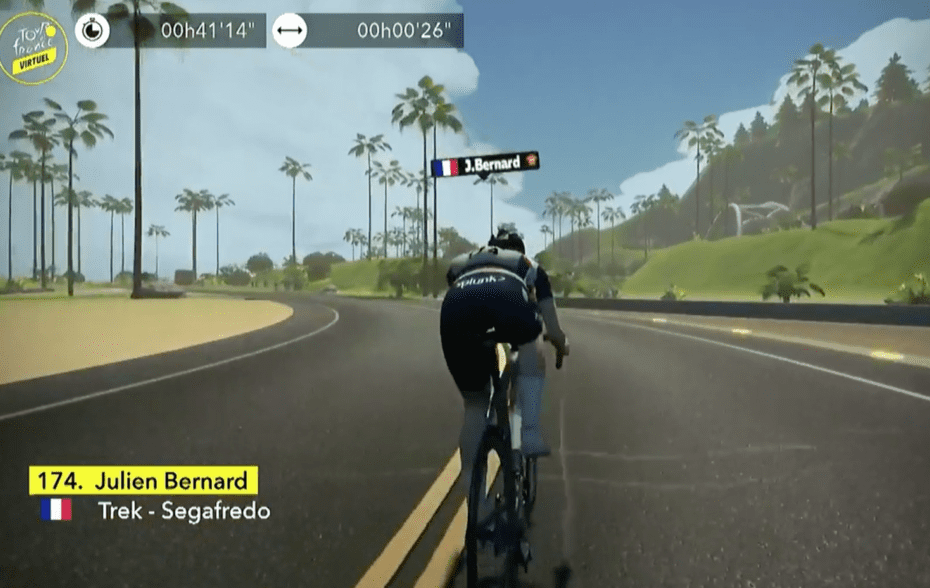 Julien Bernard powers to victory in Stage 2 of the Virtual Tour de France